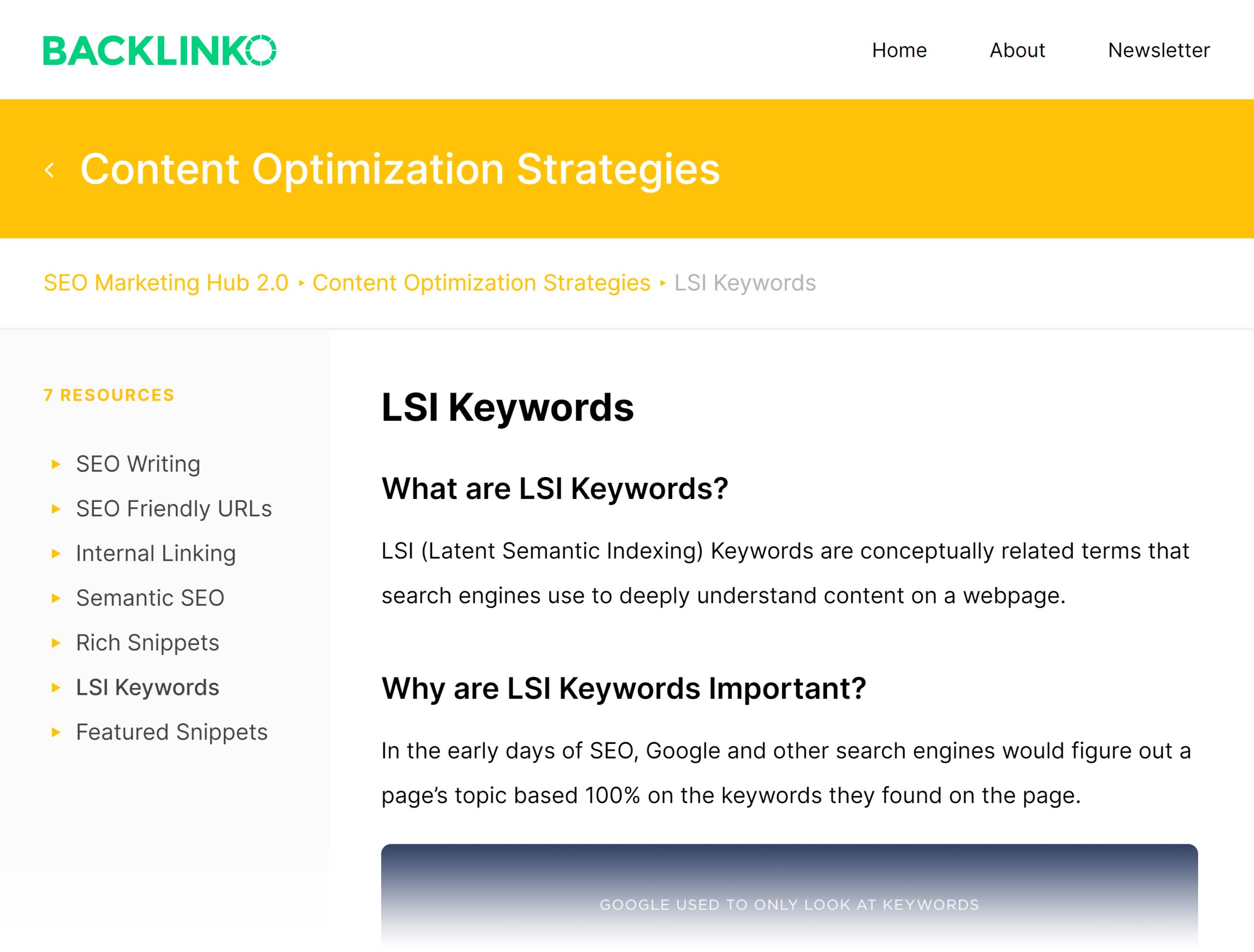 Backlinko – SEO Hub – LSI keywords