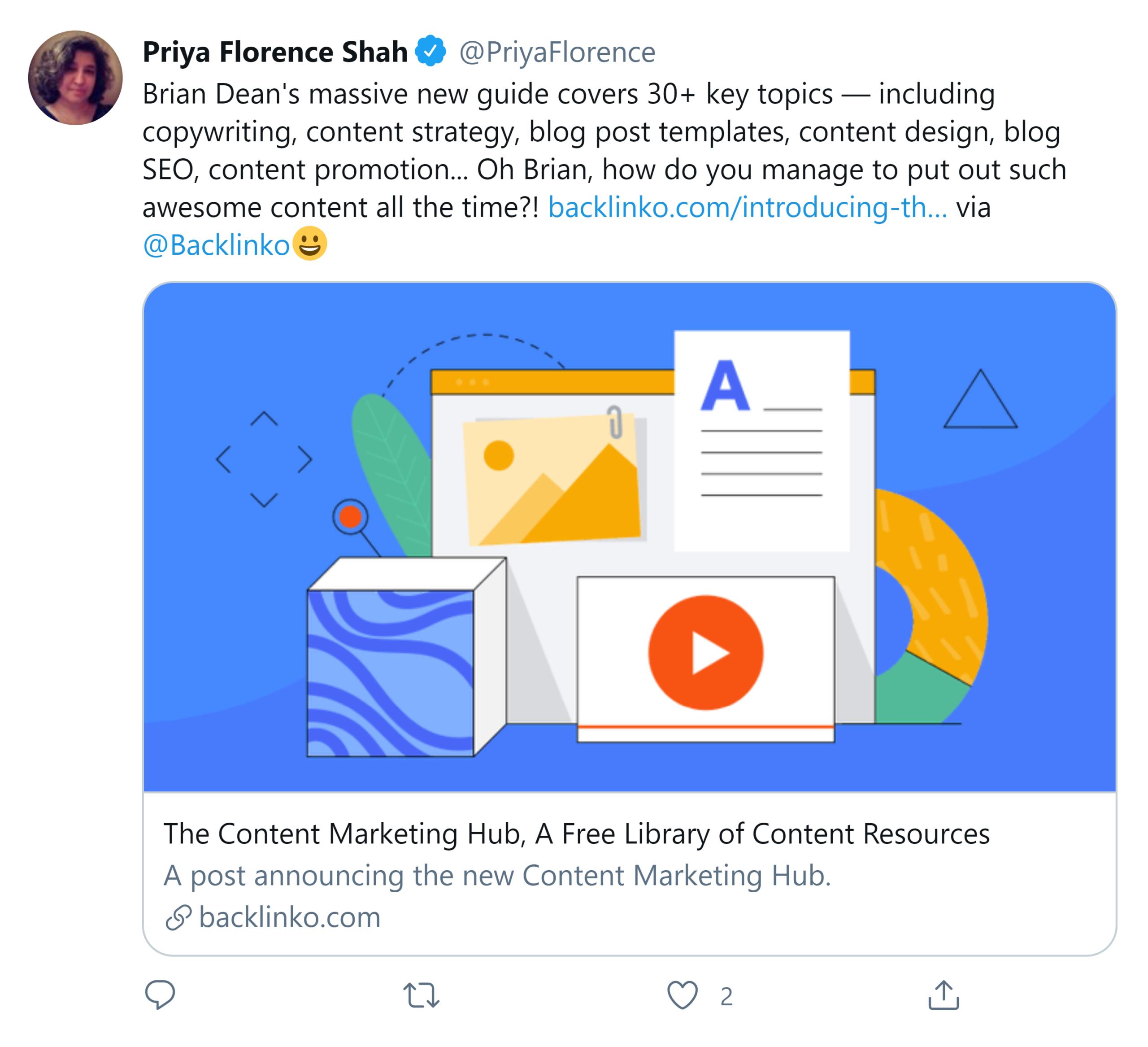 Content Marketing Hub – Twitter share