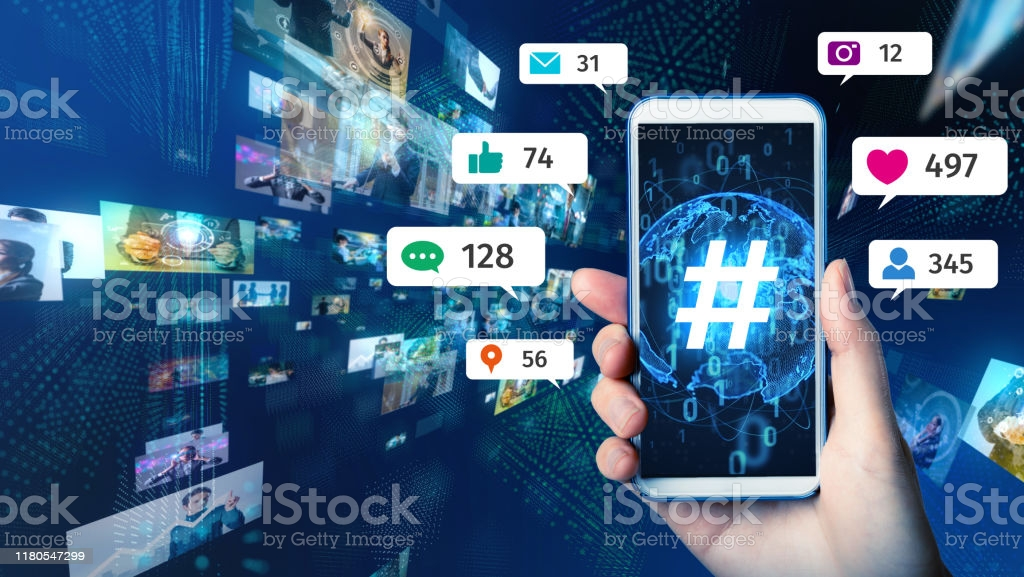 Social networking service concept. Streaming video. Social networking service concept. Streaming video. Social Media Stock Photo